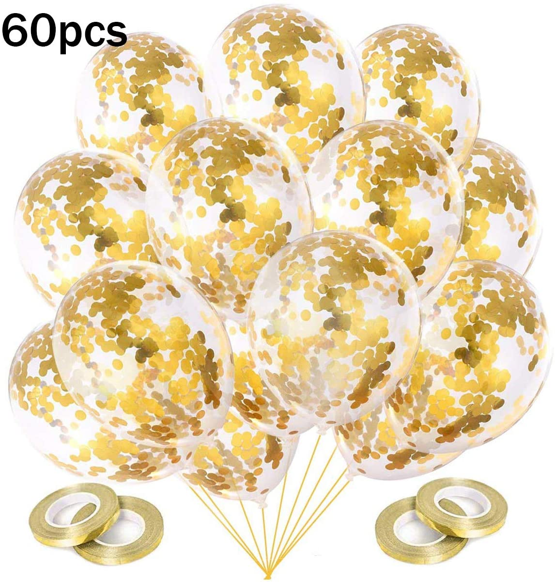 LAKIND 60pcs Gold Confetti Balloons,12 Inch Latex Party Balloons with Gold Glitter Balloons for Party Decorations, Wedding Engagement Baby Shower (Gold)