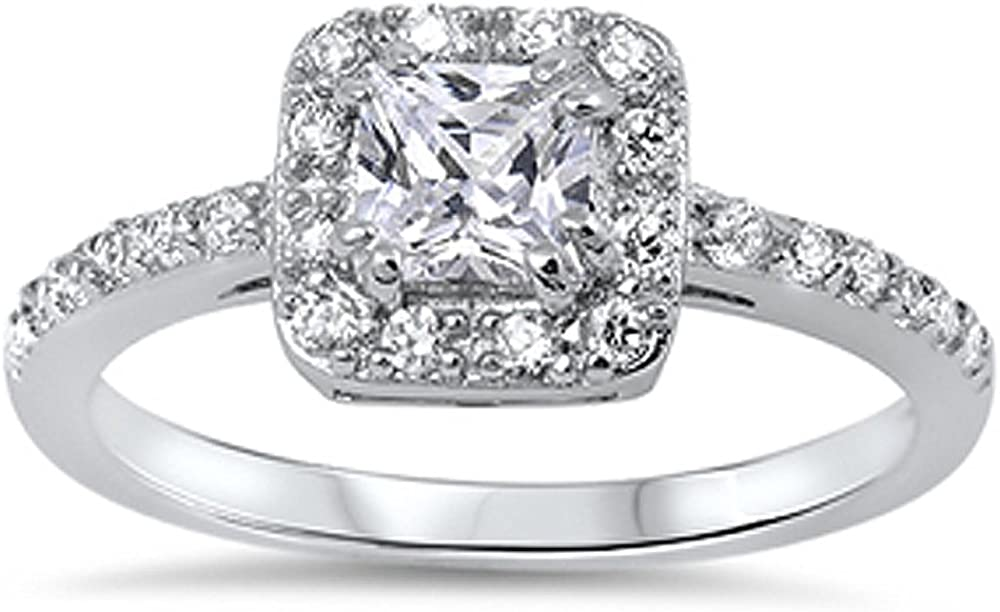 Double Accent Sterling Silver Princess Cut Cubic Zirconia Solitaire Engagement Ring 9MM (Size 5 to 10)