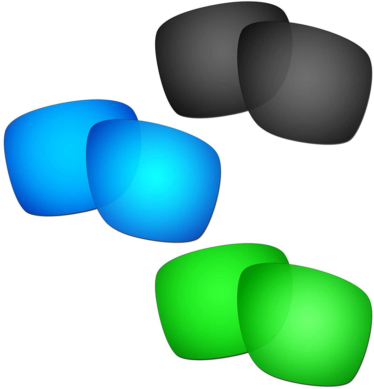 HKUCO Reinforce Replacement Lenses For Oakley Sliver XL Blue/Black/Emerald Green Sunglasses