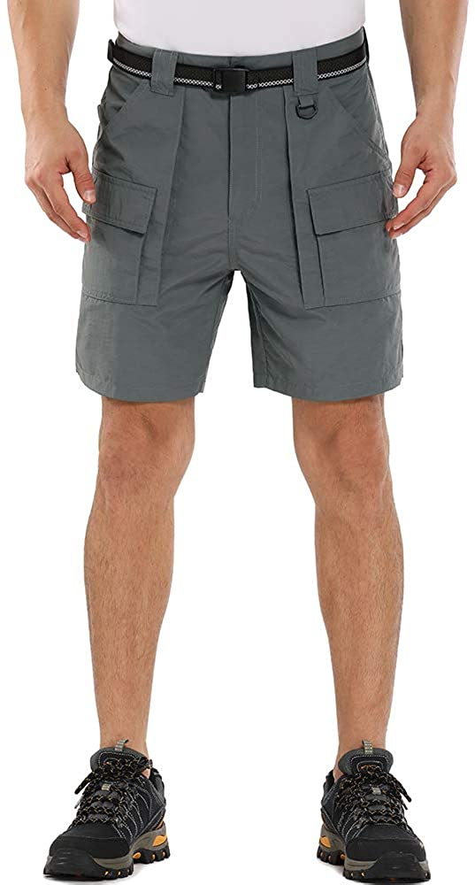 Toomett Men's Quick Dry Shorts for Hiking, Camping, Travel Casual Active Relaxed Cropped Bermuda Shorts(6033,Grey,30)