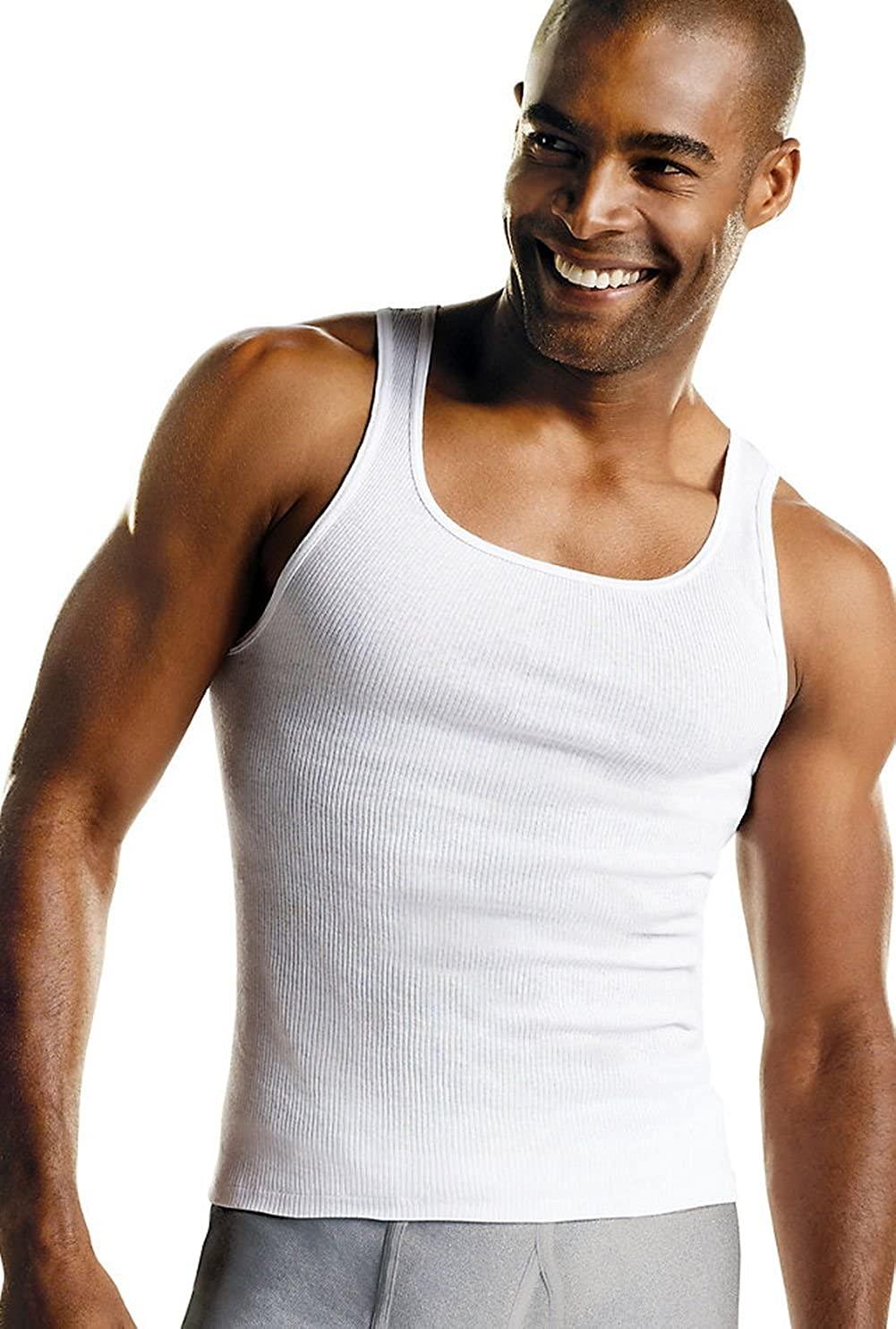 Hanes Men's TAGLESS ComfortSoft A-Shirt 7-Pack (Includes 1 Free Bonus A-Shirt)