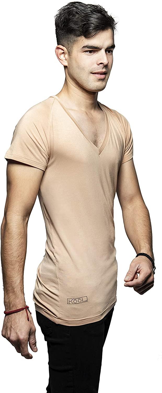 Kool Apparel Men's Invisible Deep V Neck Undershirt in Lenzing Modal (Slim Fit) Nude
