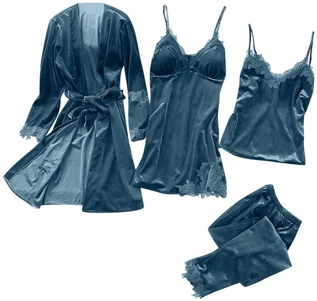 Waiskowi Soft Summer Beach Style Women V Neck Women Satin Nightgown Trim Sweet Pajamas