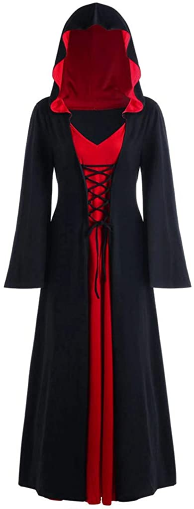 Women's Gothic Cosplay Hooded Lace Up Dress Hooded Vintage Medieval Floor Length Renaissance Medieval Costume Dresses