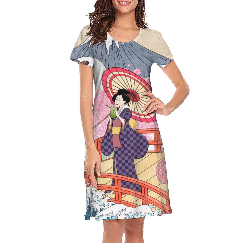 Women Nightgown Ukiyo-e Geisha O-Neck Personalized Short Sleeve Lingerie