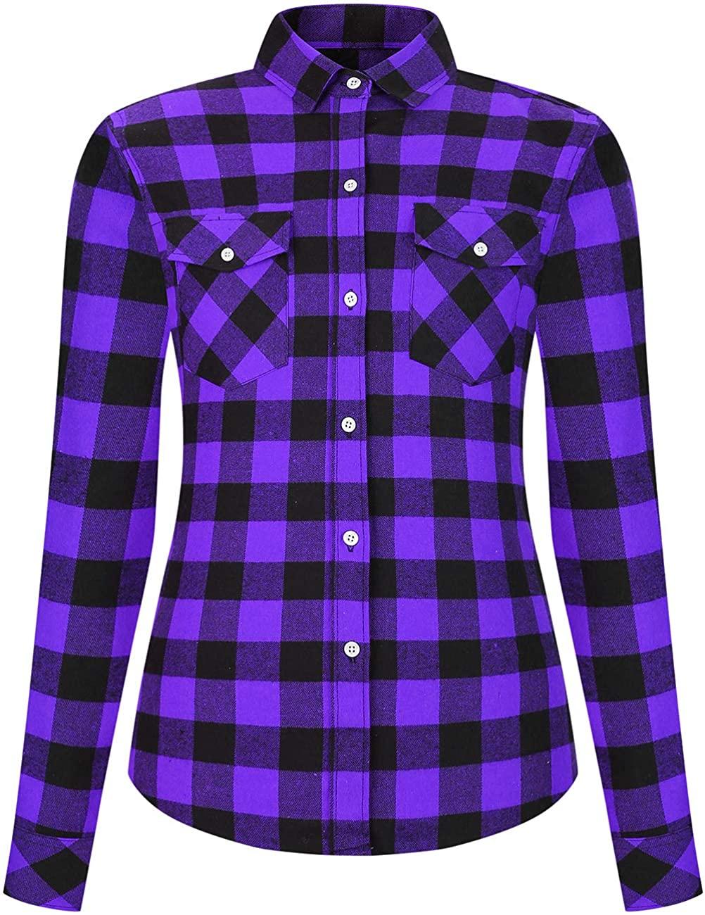 Leonal Women's Flannel Blouses Casual Long Sleeve Buffalo Plaid Work Dress Shirt Jacket Tops