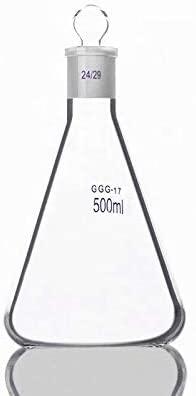 JIANFEI LIANG 2pcs- 500ml Erlenmeyer Flask with Standard Ground Mouth & Stopper, Joint 24/29, Borosilicate 3.3 Glass, Laboratory Chemistry Lab Erlenmeyer Flask (Capacity : 500ml)