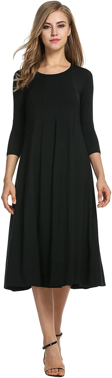 Hotouch Womens 3/4 Sleeve A-line and Flare Midi Long Dress