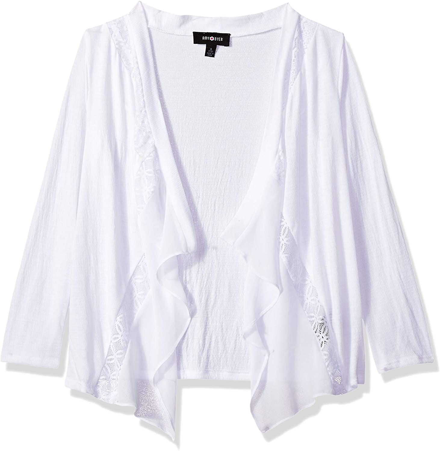 Amy Byer Girls' Big Lacey Open Cardigan Sweater