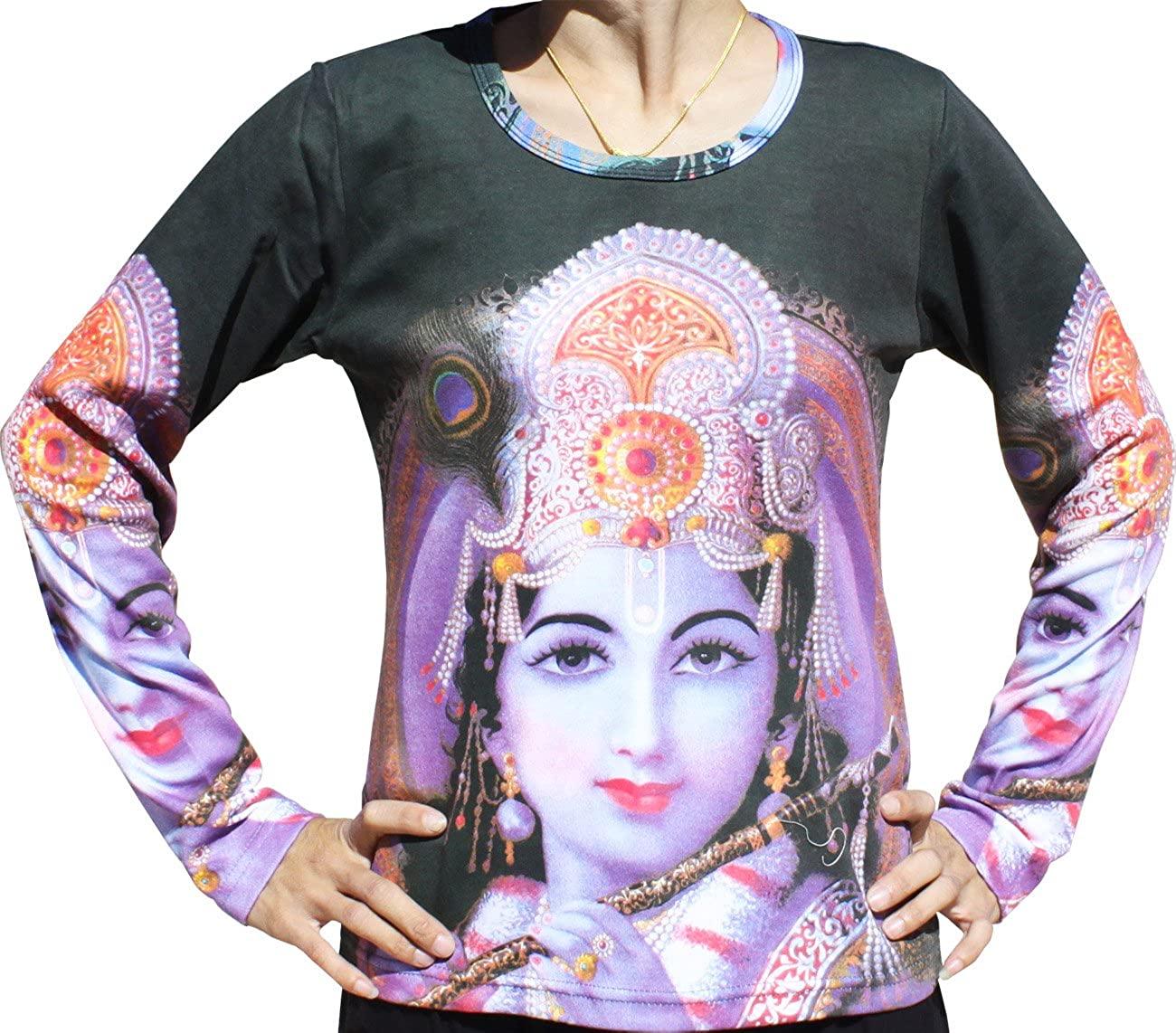 RaanPahMuang Hindu Lord Krishna with Flute Long Sleeve Ladies Shirt