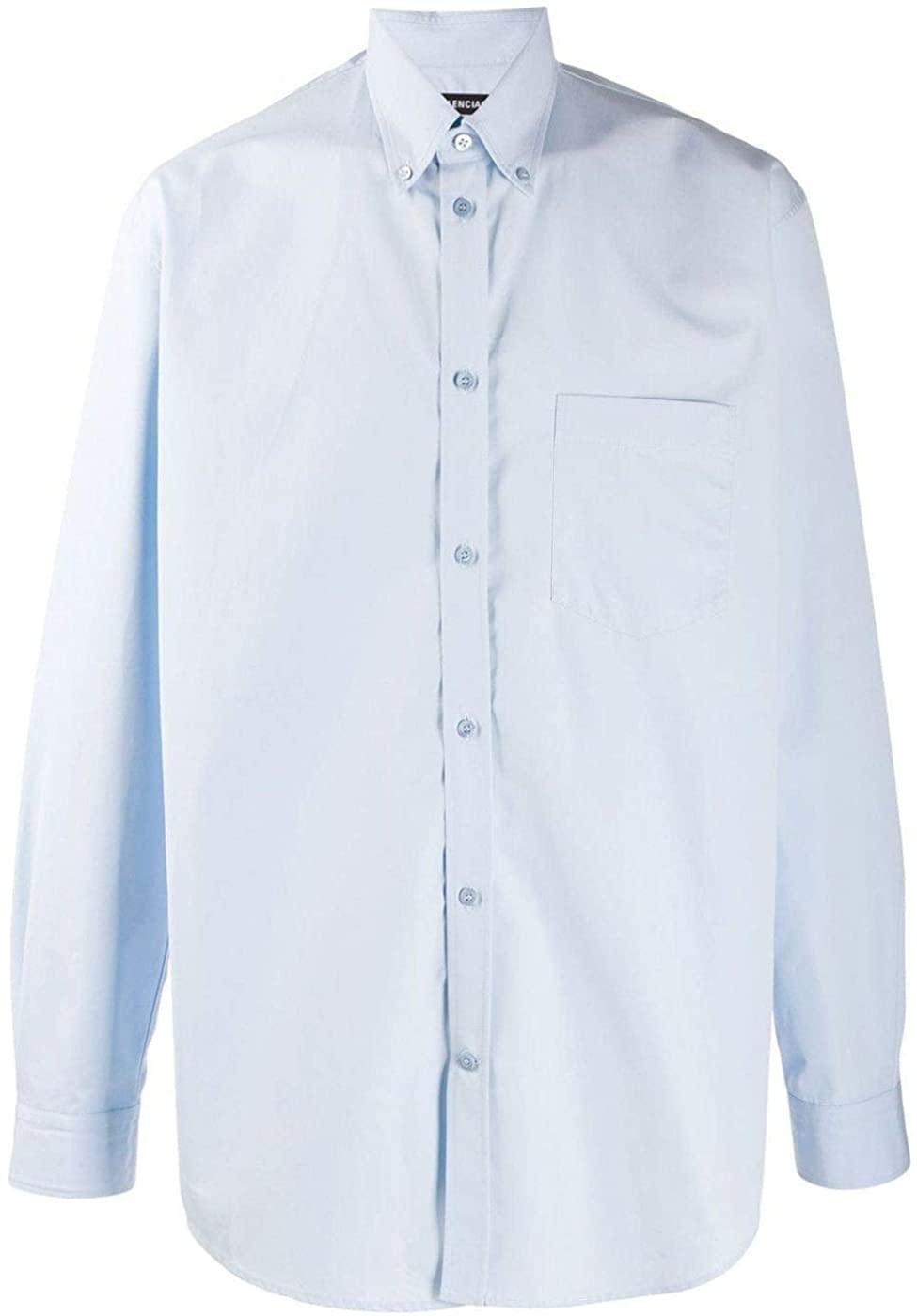 Balenciaga Luxury Fashion Man 508465TYB184850 Light Blue Cotton Shirt | Fall Winter 19