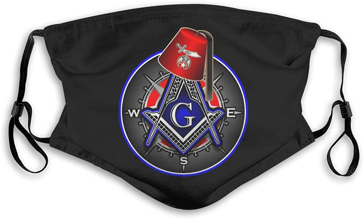 Freemason Shriner Bandanas for Men Face Scarf Neck Gaiter Pm2.5 with Filters M Black