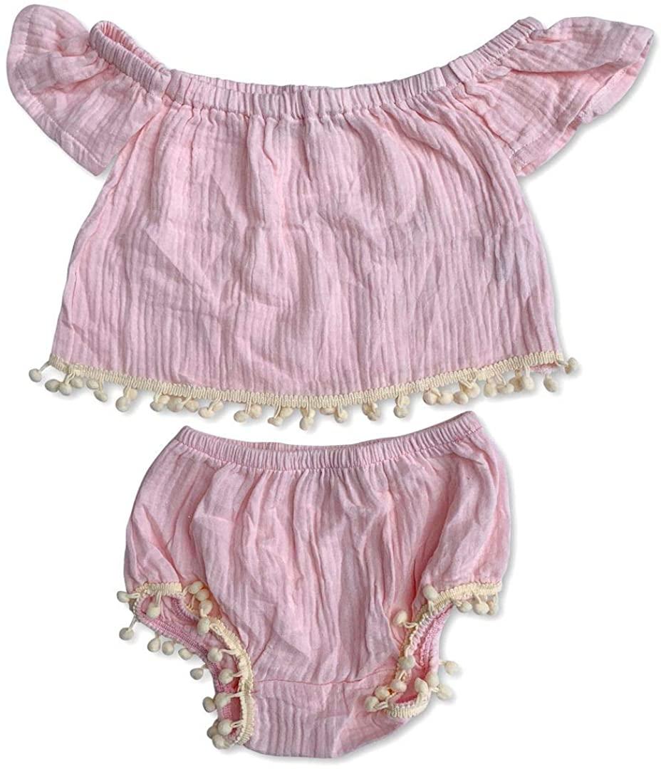 Sol Baby Pink Gauze Pom Pom Trim Infant Top/Bloomer Set