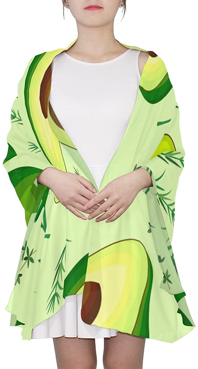 Ethel Ernest Fruit Avocado Pattern Womens Silk Scarf Lightweight Shawl Soft Long Scarves