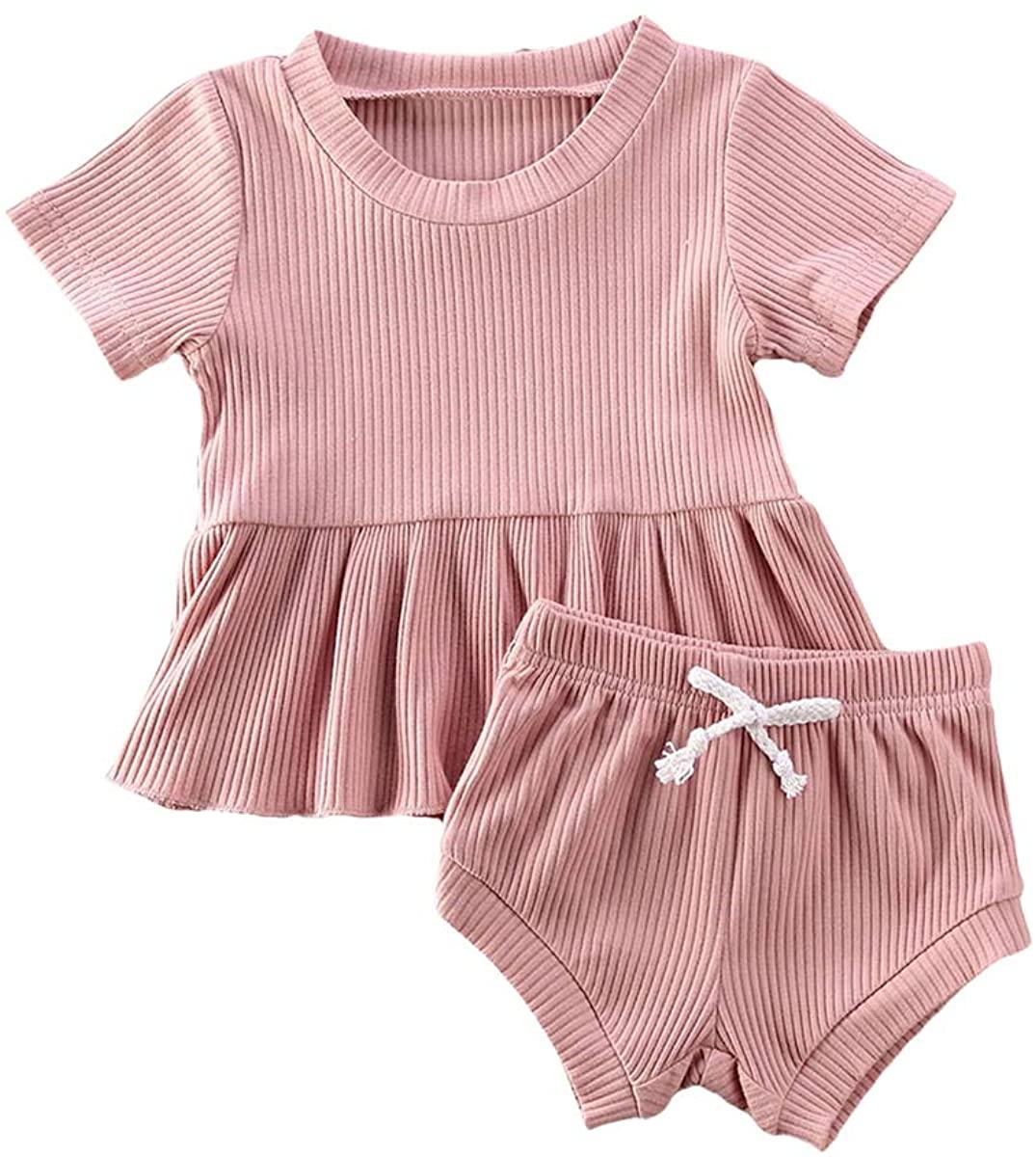 Newborn Infant Baby Girl Clothes Set Solid Ruffle Dress Shirts Tees Tops Shorts 2PCS Ribbed Toddler Girl Outfits Set