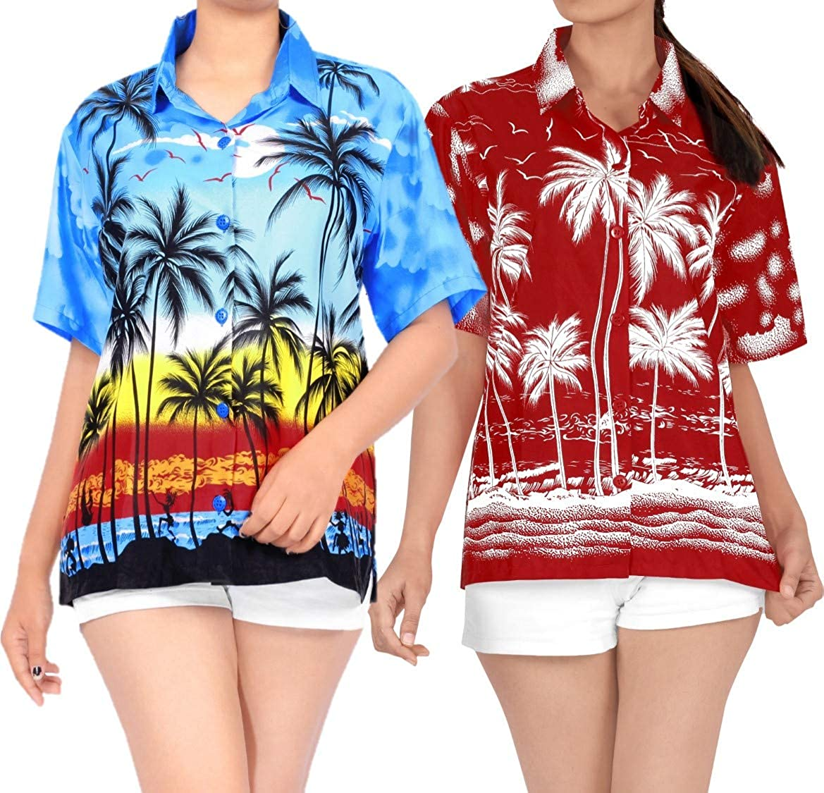 LA LEELA Women's Relaxed Swim Hawaiian Shirt Aloha Blouse Tops Shirt Work from Home Clothes Women Beach Shirt Blouse Shirt Combo Pack of 2 Size L