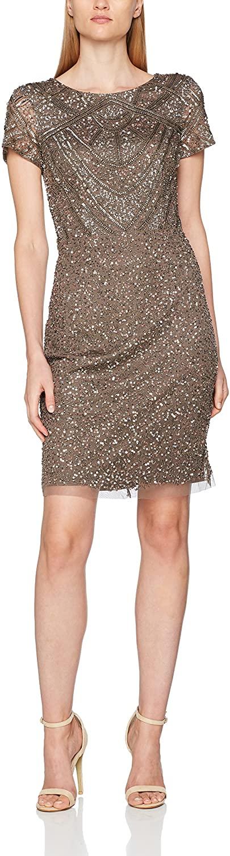 Adrianna Papell Women's Short Sleeve Fully Beaded T Shirt Cocktail Dress