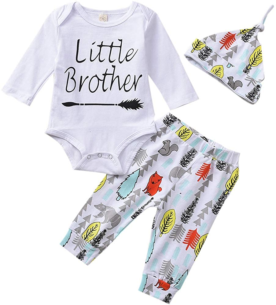Baby Boy Clothes Little Brother Bodysuit+Pants+Beanie Hat 3PCS Winter Outfits