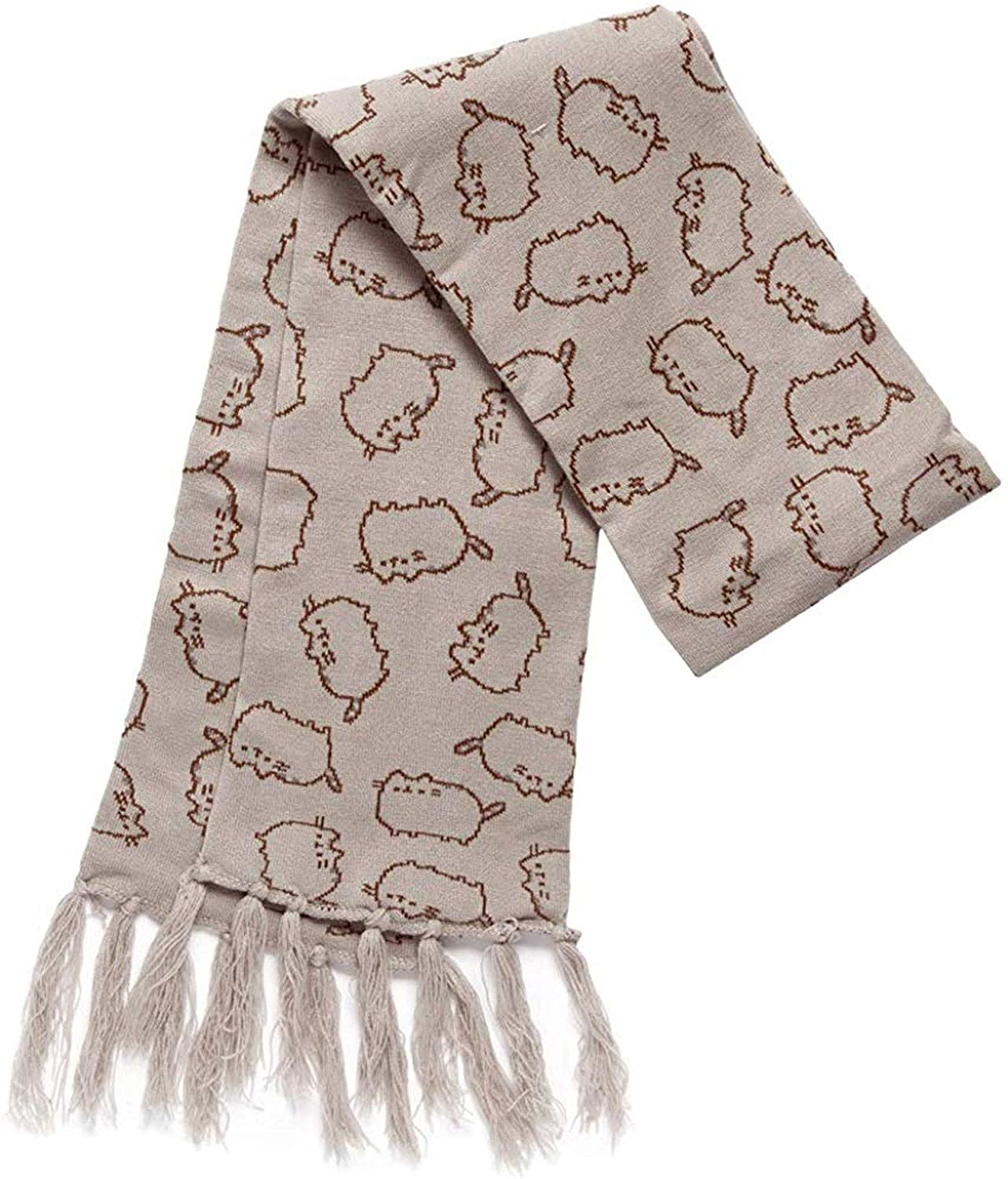Pusheen The Cat Tossed Knit Fringe Scarf