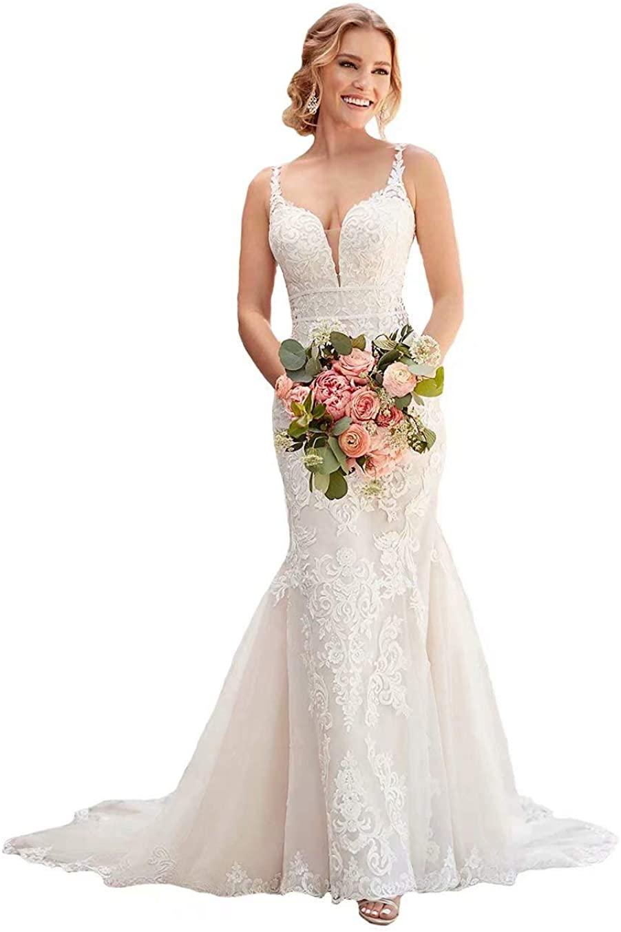 Women's Lace Wedding Dresses Mermaid V-Neck Long Open Back Beach Bridal Dress for Bride 2020