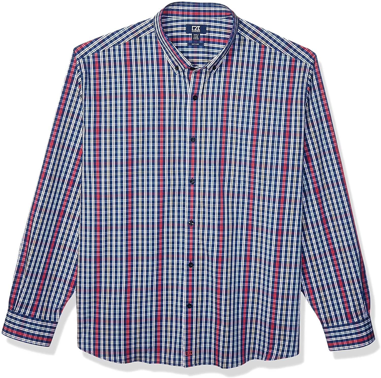 Cutter & Buck Men's Long Sleeve Anchor Double Check Plaid Button Up Shirt