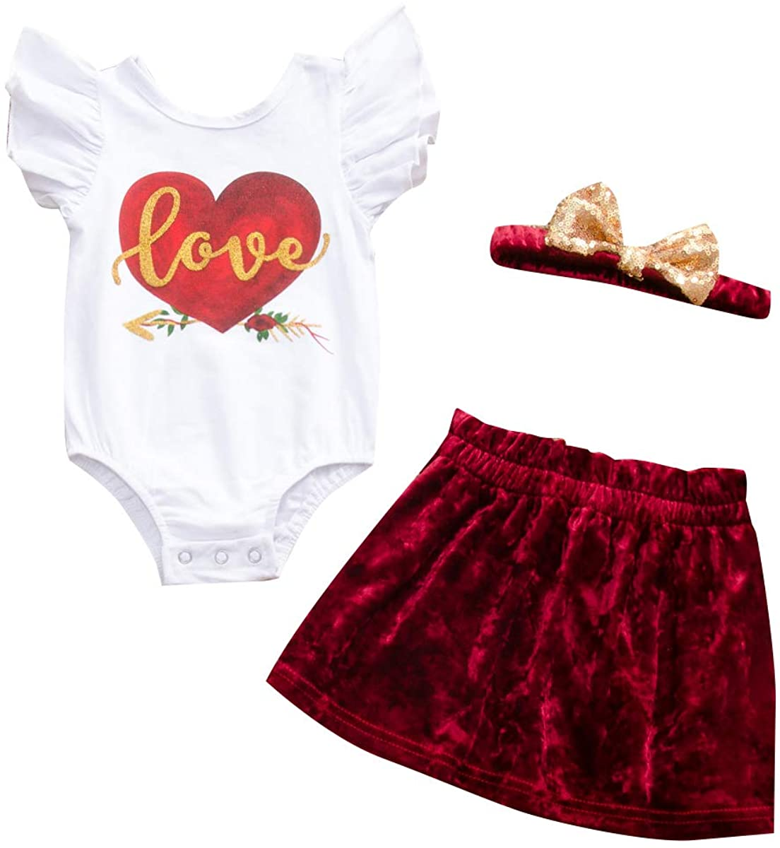 Valentines Day Outfits Infant Toddler Baby Girl Flutter Sleeve Love Print Skirt Headband Clothes Sets