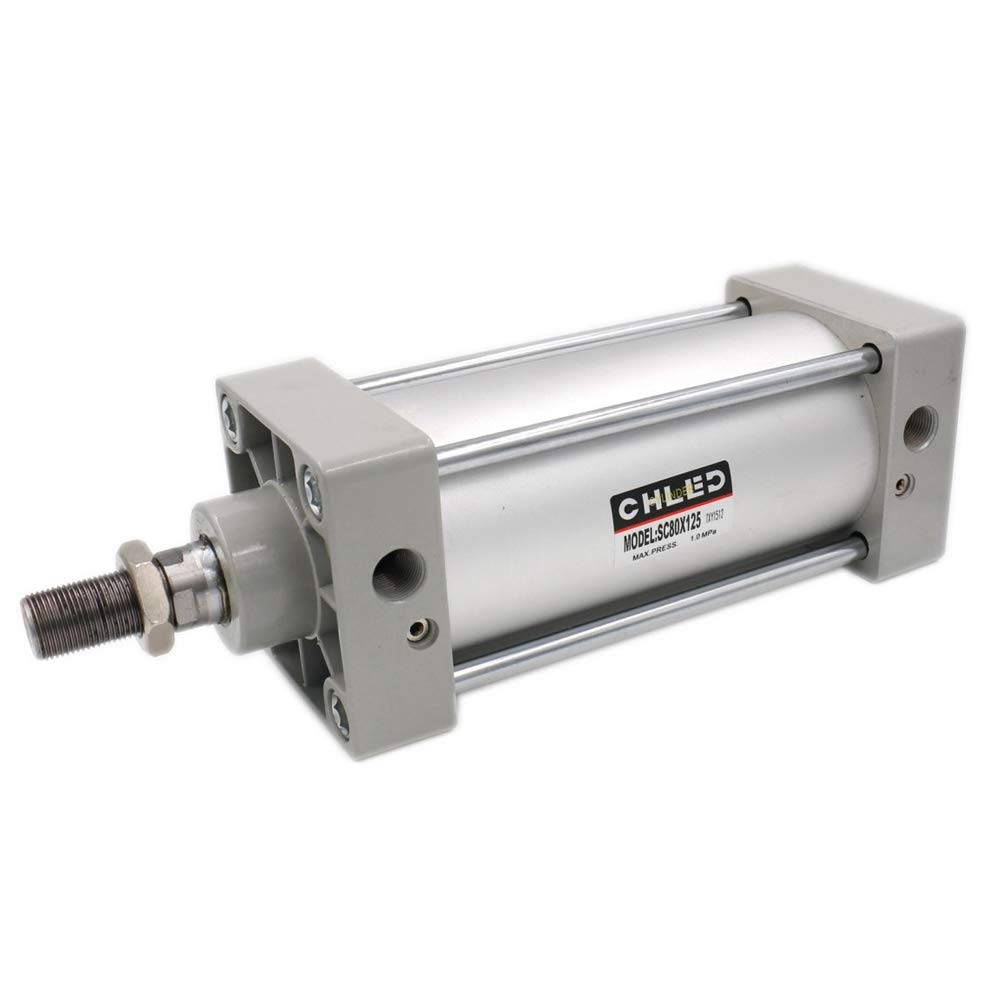 Woljay Pneumatic Air Cylinder SC 125 x 100 PT 1/2 Screwed Piston Rod Dual Action Bore: 125mm Stroke: 125mm