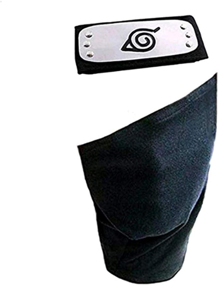 Naruto Headband,Cosplay Accessories Leaf Village Headband and Unisex Hatake Kakashi Cosplay Mask Veil Black