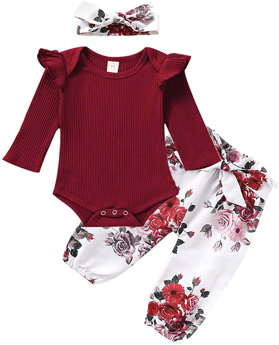 Newborn Baby Girls Clothes, Infant Kids Toddler Long/Short Sleeve Ruffle Romper Bodysuit and Floral Pants Set Outfits