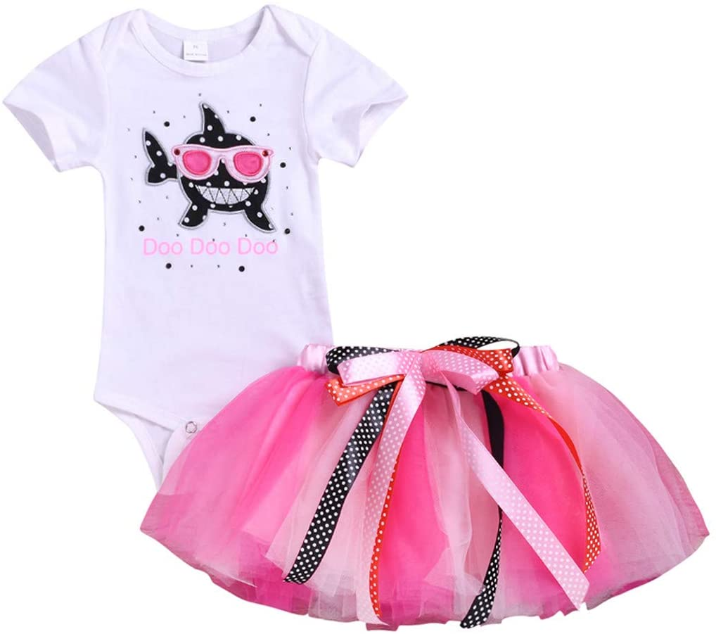 ❤️ Mealeaf ❤️ Toddler Baby Kid Girls Shark Romper Tops Tutu Skirt Princess Outfit Set Clothes(0-24M)