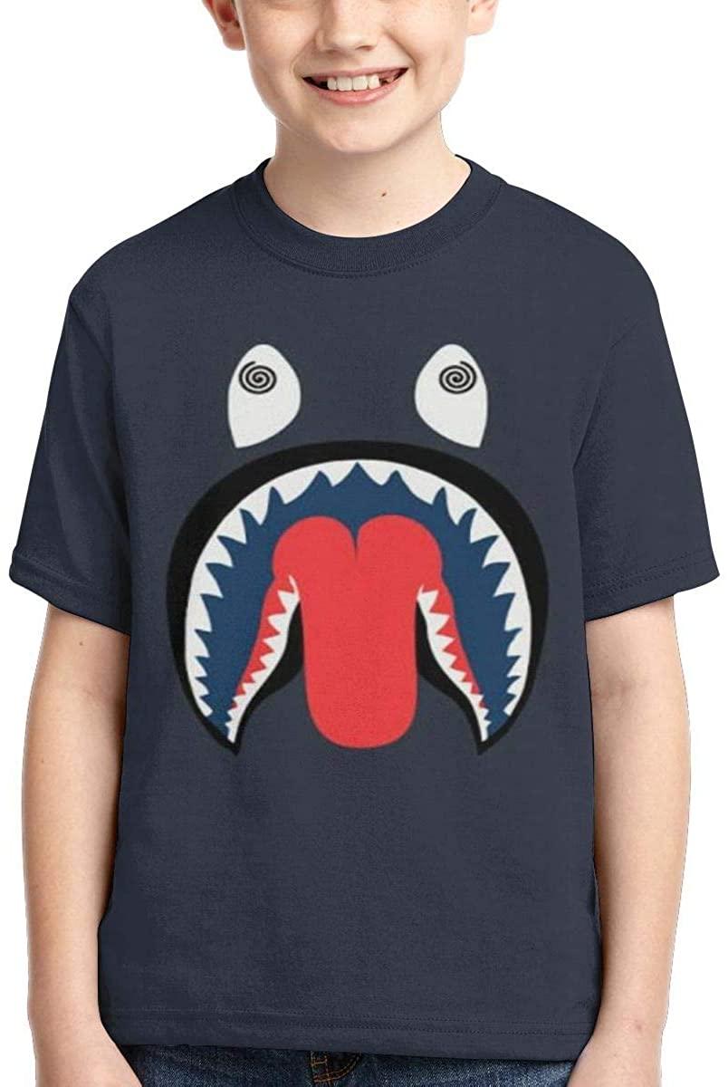 Children's 3D Printed T-Shirt Bape Blood Shark boy Short-Sleeved T-Shirt Sports Baseball Shirt