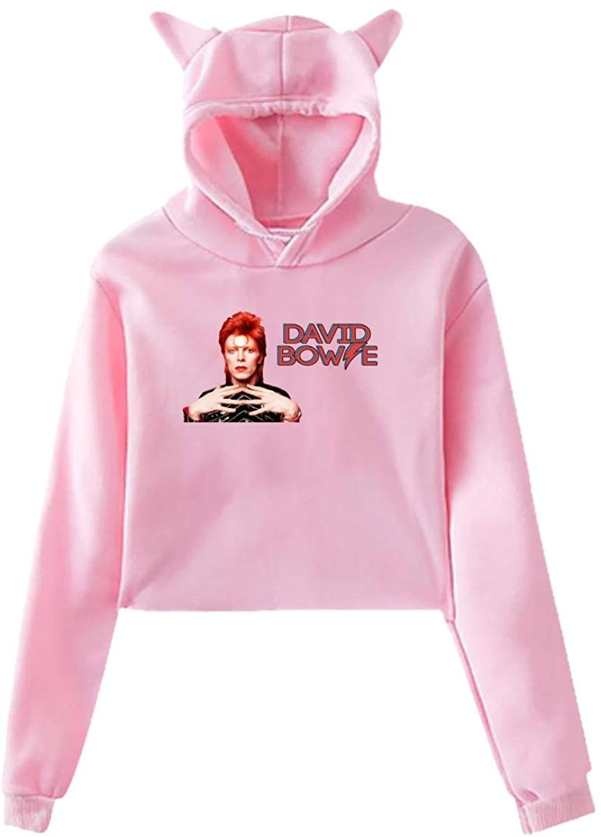 David Bowie Cat Ear Hoodie Sweater 100% Polyester Fabric Moderate Hand Feeling Slightly Elastic