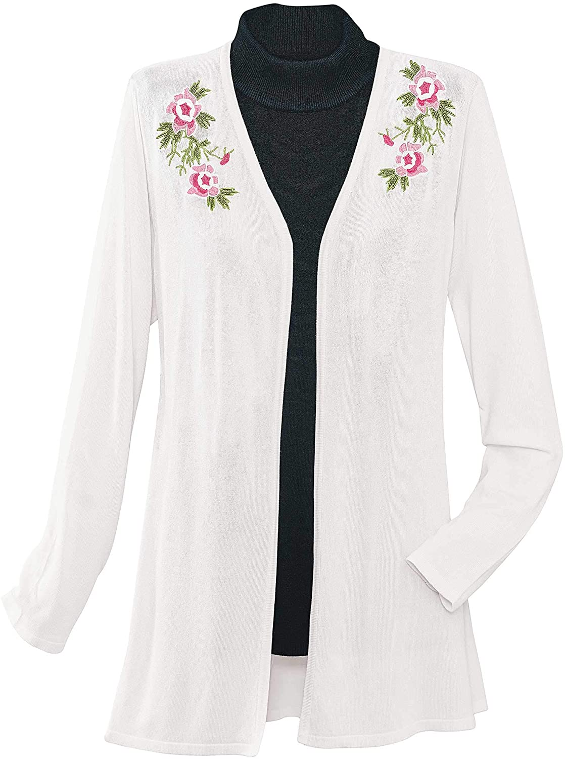 National Embroidered Open Front Cardigan