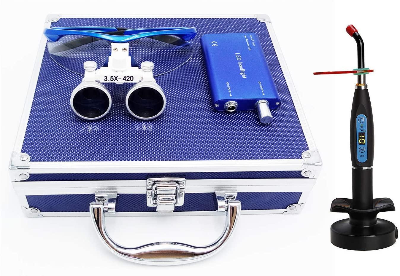 Zgood 3.5x420MM Surgical Binocular Loupes Optical Glass + Headlight + Blue Aluminum Box + 1PC LED Cordless Light Lamp