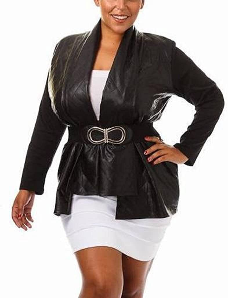 Plus Size, Embossed, Quilted Texture, Faux Leather, Long Sleeve Jacket / Cardigan