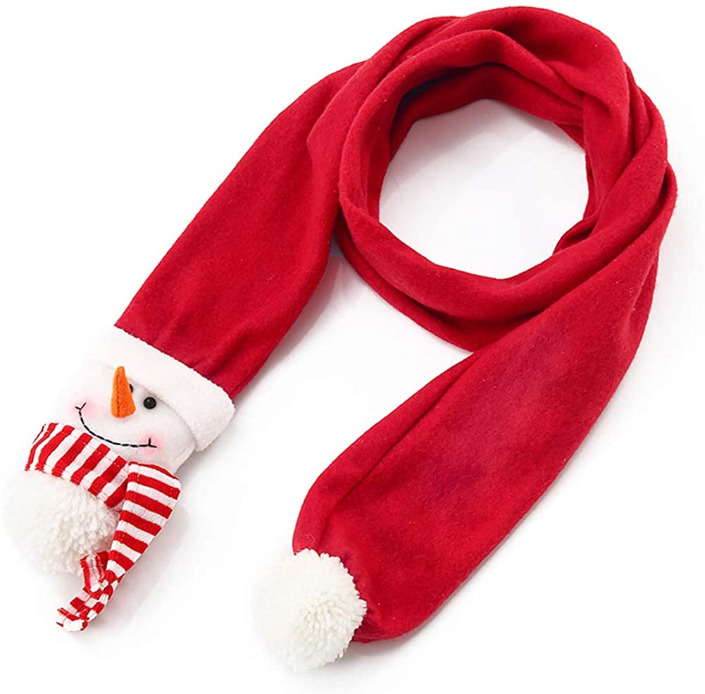 Lesirit Christmas Scarf Cute Santa Snowman Reindeer Plush Warm Christmas Gift Scarf for Kids and Adult