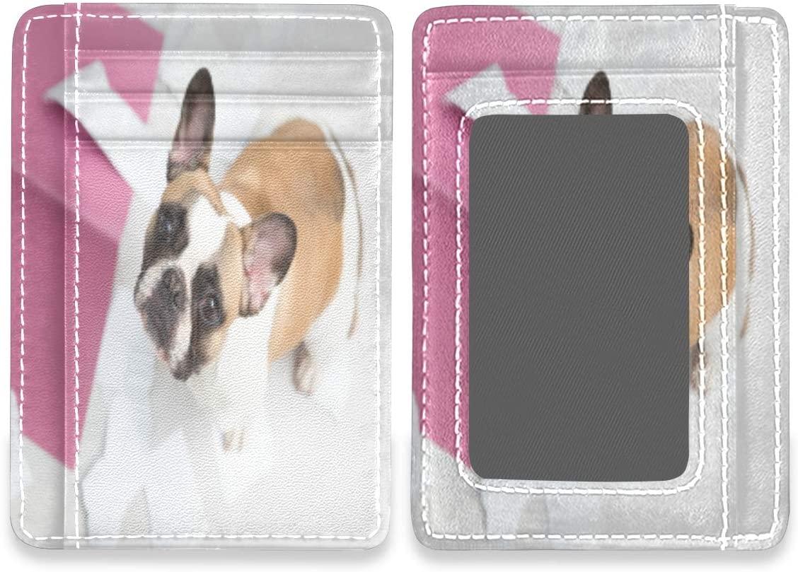 Pet French Bulldog Puppy RFID Credit Card Holders Wallet Womens Mens Buissnes Card Case Organizer