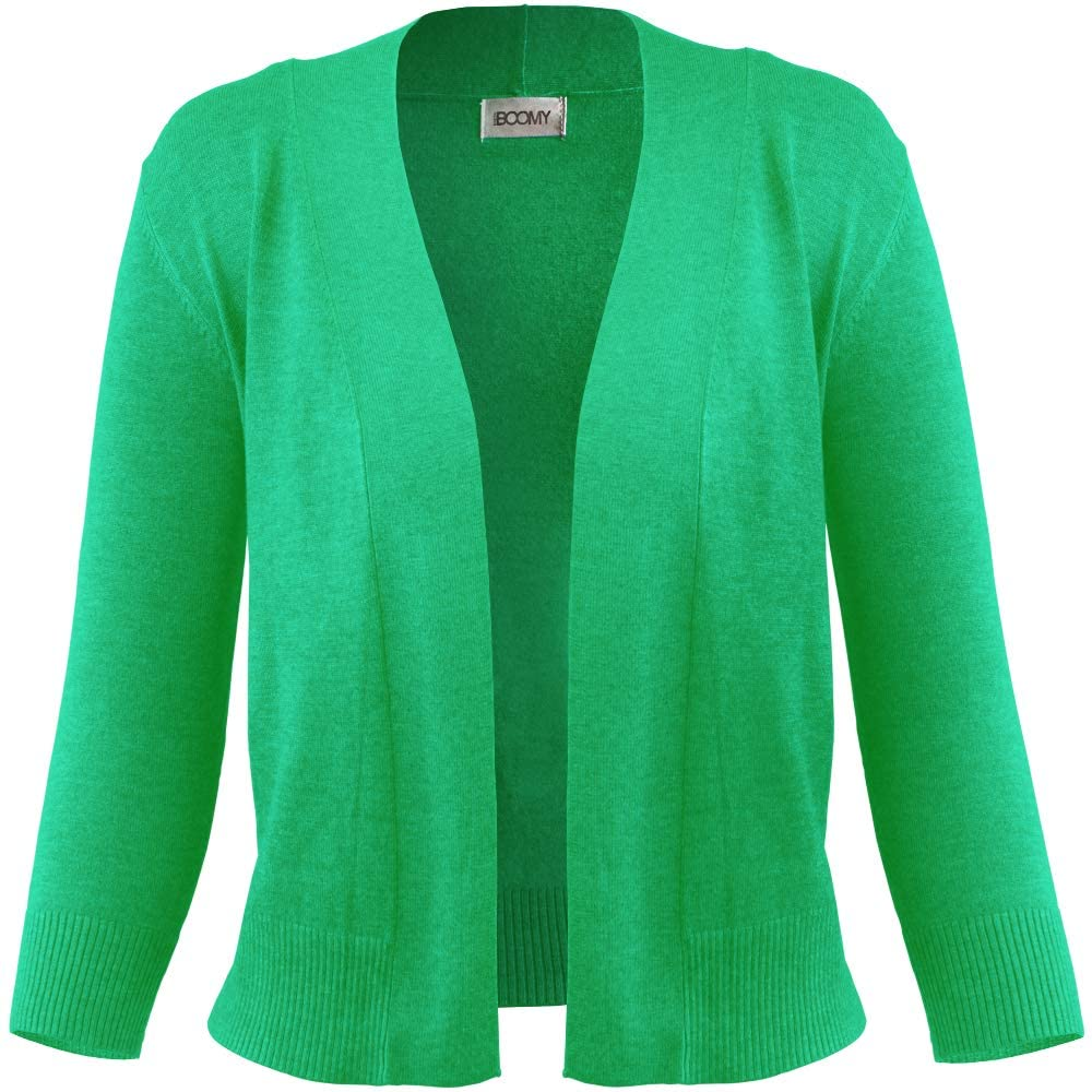 FASHION BOOMY Women's Open Front Cropped Cardigan - 3/4 Sleeve Soft Knit Sweater - Classic Bolero Jacket