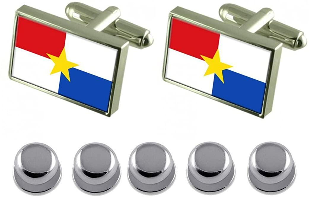 Select Gifts Shirt Dress Studs Monteria City Colombia Flag Cufflinks