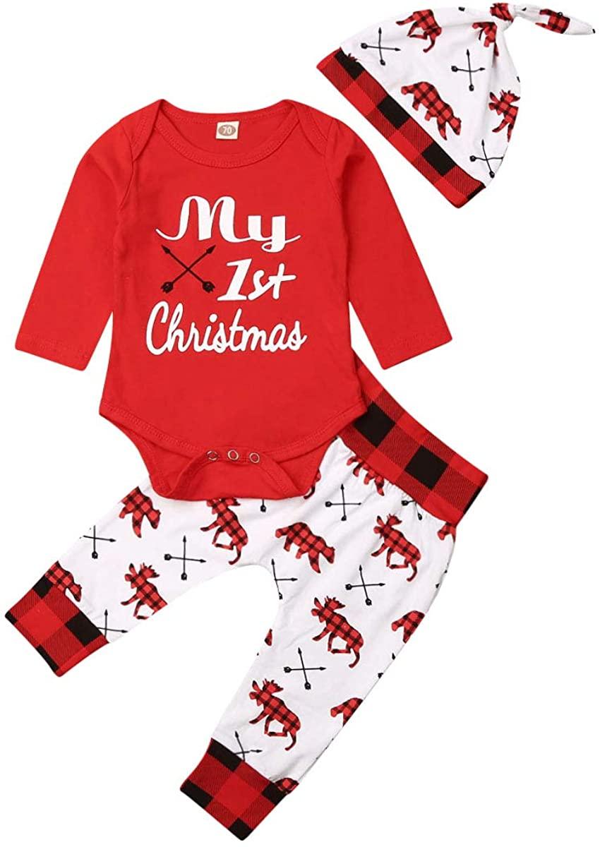 Baby Boy My 1st Christmas Outfit Newborn Christmas Clothes Romper Top Deer Plaid Pants Set Bodysuit 0-18M