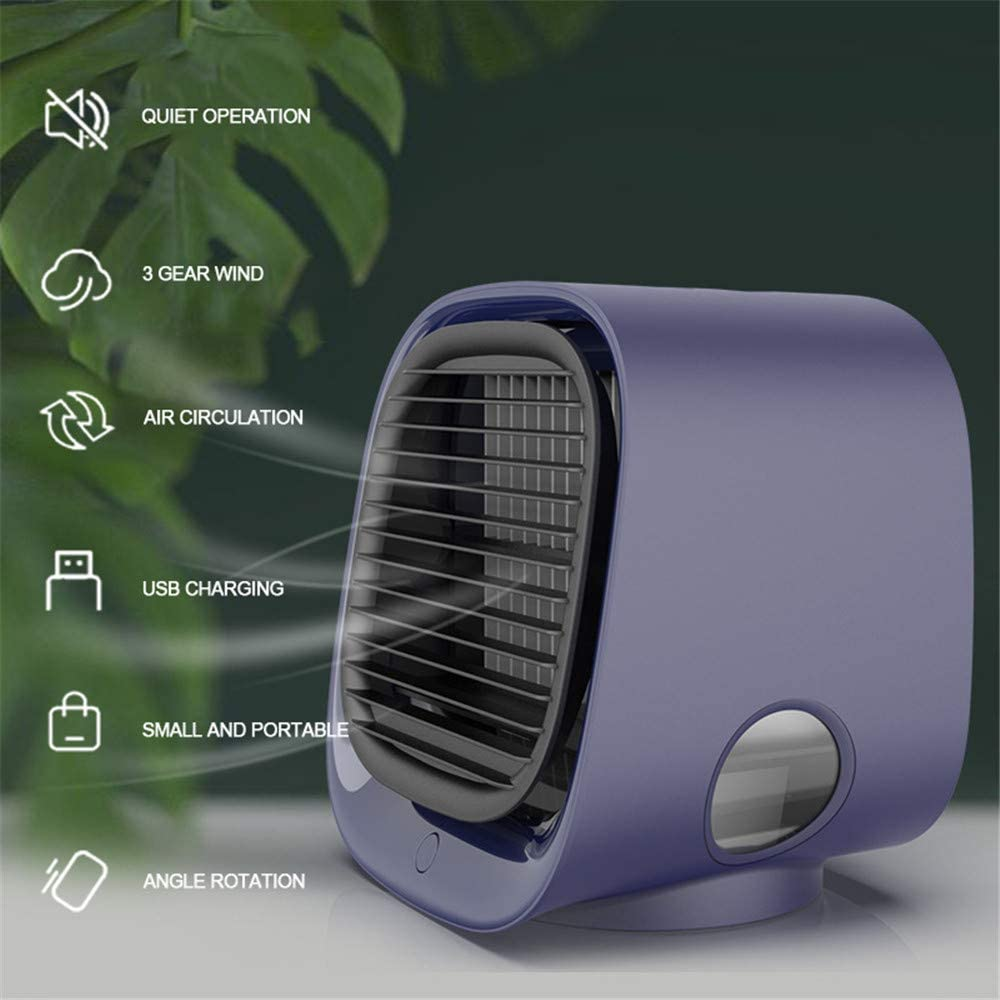WE&ZHE Portable Air Humidifier Conditioner Fan, Mini Air Cooler, USB Negative Ion Cooling Fan with 3 Wind Speeds Personal Air Conditioner,C