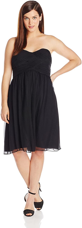 Donna Morgan Women's Plus Size Strapless Sweetheart Chiffon Dress