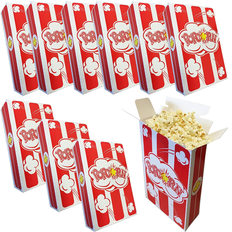Popcorn Box Small Size Enjoy Pop Corn Logo Red White Stripe Classic Party Snack Favor Fun Sized 1.25 oz Classic Style Box (75)