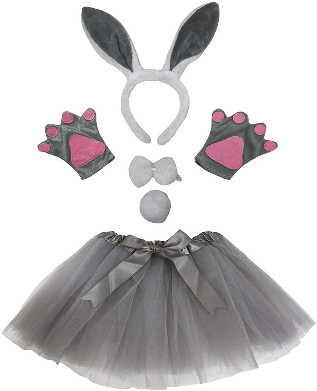 Petitebella Grey Bunny Headband Bowtie Tail Gloves Tutu 5pc Girl Costume (Grey)