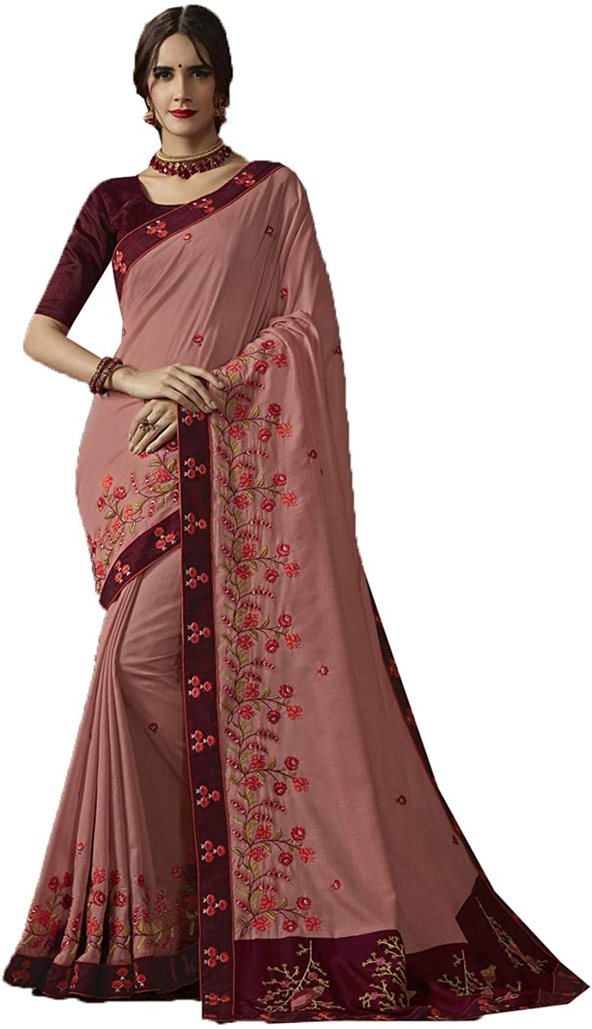 Saree for Women Bollywood Wedding Designer Peach Sari with Unstitched Blouse. ICW2593-7