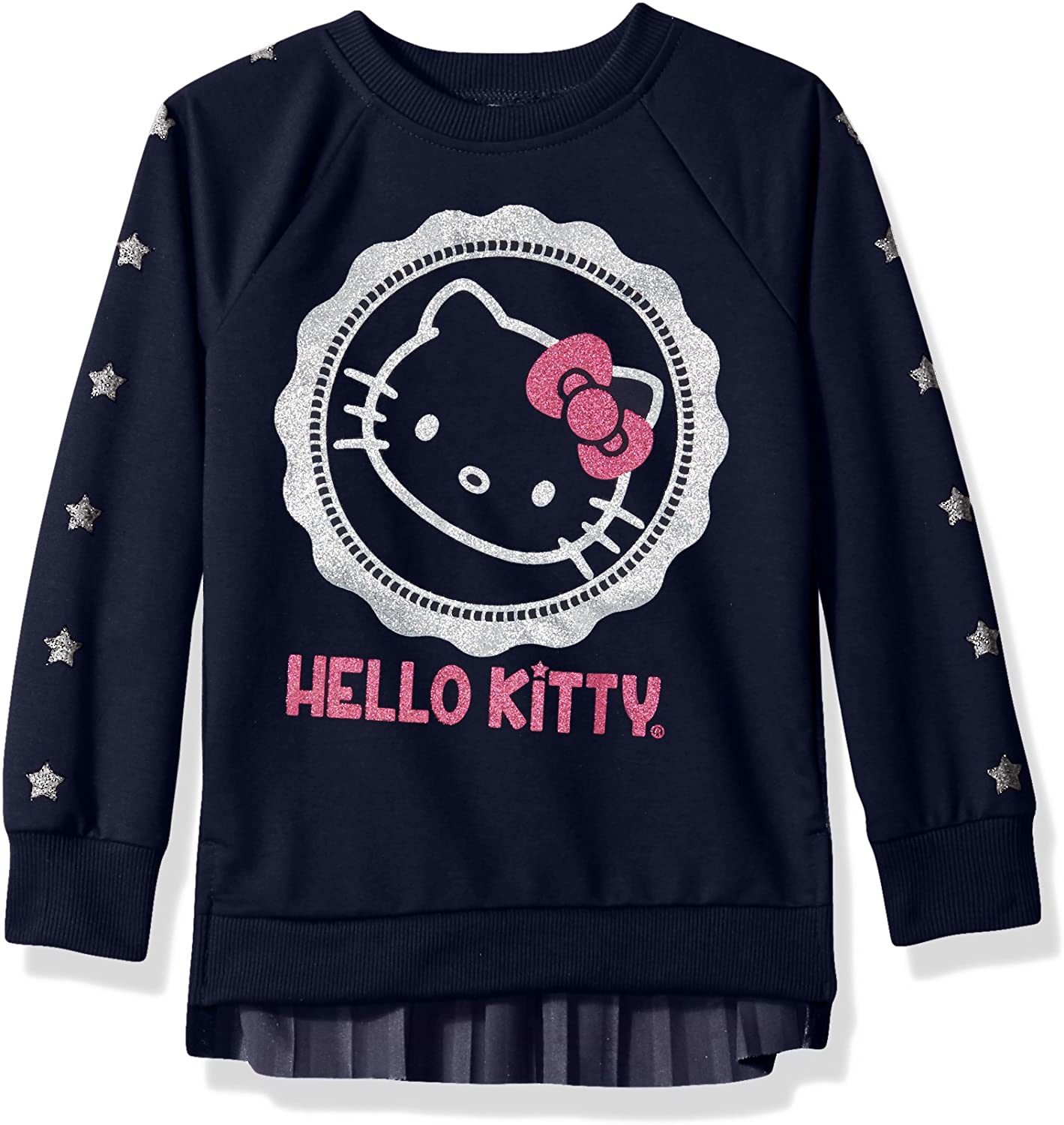 Hello Kitty Girls' Sweatshirt with Glitter Artwork and Pleated Velvet