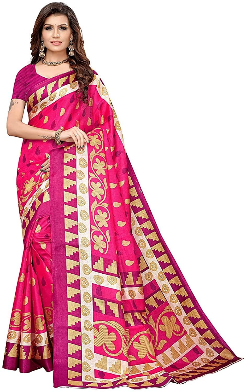 Indian Decor & Attire Art Silk with Blouse Piece Saree (NEETI-Pink Free)