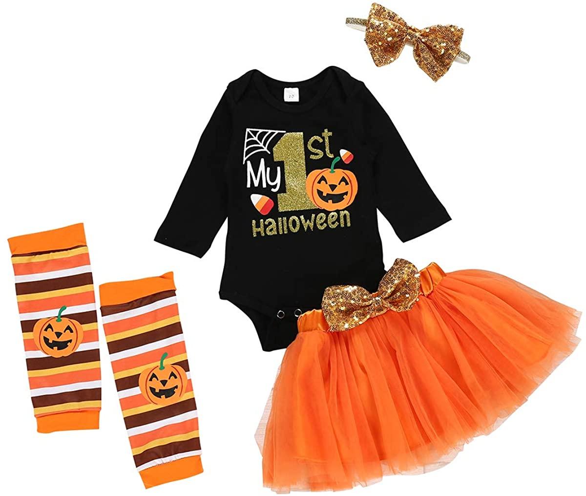 Baby Girl Halloween Outfits My 1st Halloween Outfits Pumpkin Print Romper +Tutu Skirt+Leg Warmer+Headband 4PCS Skirt Set
