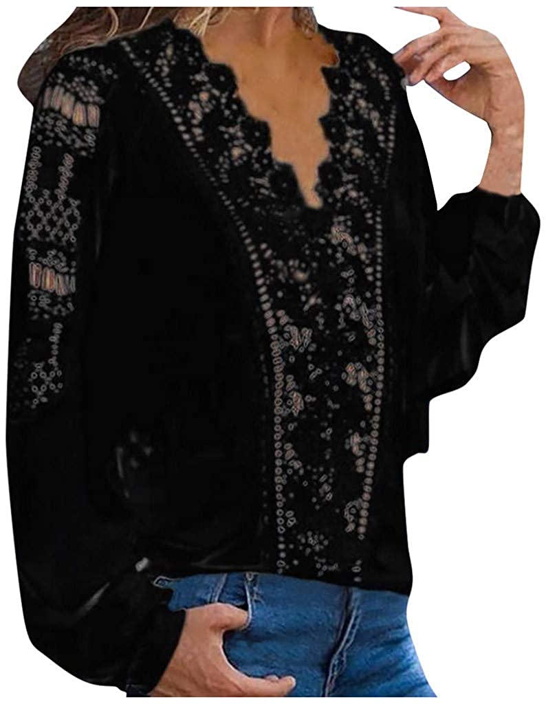 Women Hollow Out Lace Casual Work Long Sleeve Elegant Blouse V Neck Tunic Juniors Girls Tshirts Plus Size Ladies Tops Tee