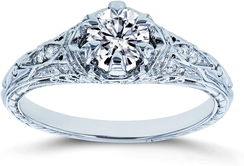 Kobelli Moissanite (D-E-F) 6-Prong Antique Engagement Ring 5/8 CTW 14k White Gold